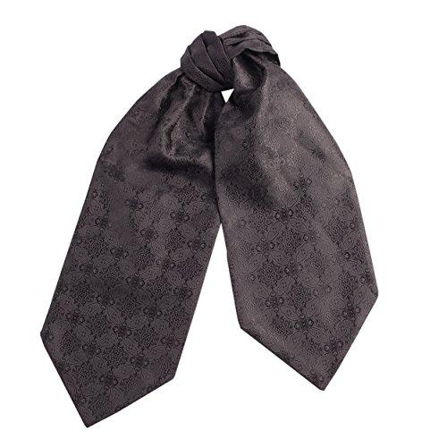 Silk Necktie Pleated (CRT034-Mens Silk Feel Elegant Cravat Classic Ascot Tie in Black Floral Damask Print)