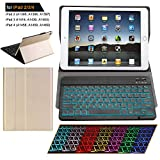 iPad 2 3 4 Keyboard Case with Backlight Thin Lightweight PU Leather Removable Wireless Bluetooth Backlit Keyboard Slim Folio Cover Soft Protection for Apple iPad 2nd 3rd 4th Generation (Gold)