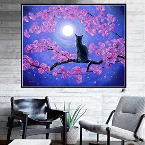 Pandaie To America!!! Moon Cat 5D Diamond Painting Full Drill Kits for Adults Embroidery Cross Stitch(all 5% off, three 10% off)