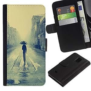 EJOY---Tirón de la caja Cartera de cuero con ranuras para tarjetas / Samsung Galaxy S5 Mini, SM-G800 / --Londres lluvioso Pintura