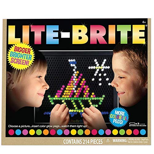 Lite Brite Classic Color Toy 200+ Pegs 6 Reusable Templates Brighter Screen
