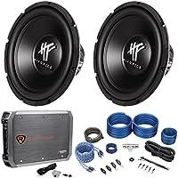 (2) Hifonics HFX12D4 12 1600w Dual 4-Ohm Car Subwoofers+Mono Amplifier+Amp Kit