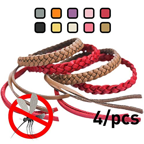 Repellent Bands Bug (Original Kinven Mosquito Repellent Bracelet Natural DEET FREE Insect Repellent Bands, Mosquito Killer up to 360Hrs Protection Outdoor and Indoor, for Adults & Kids, 4 bracelets, Color: Red/Brown)
