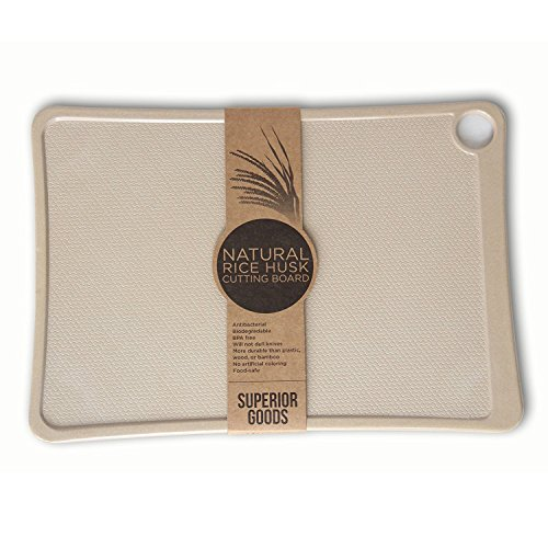 Earth Friendly Rice Husk Cutting Board that is Antibacterial, BPA Free, and Durable.