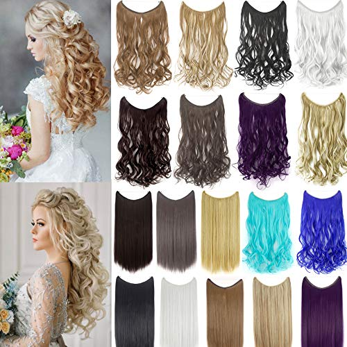 """22""""/24"""" Curly Straight Invisible Hidden Wire Synthetic Hair Extensions Secret Wire No Clips Full Head Hairpieces"""