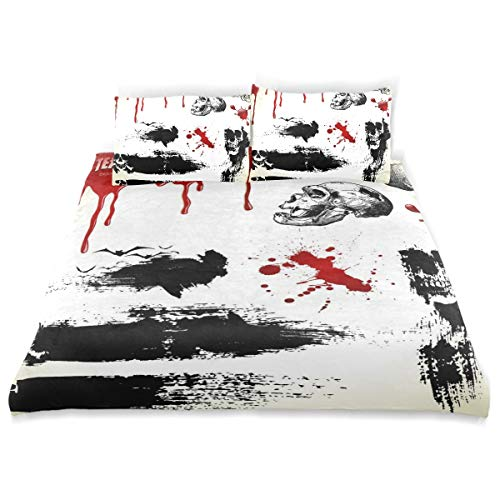 LONSANT Halloween Set Scary Textures Skulls Duvet Cover Set Design Bedding Decoration Twin XL 3 PC Sets 1 Duvets Covers with 2 Pillowcase Microfiber Bedding Set Bedroom Decor Accessories -