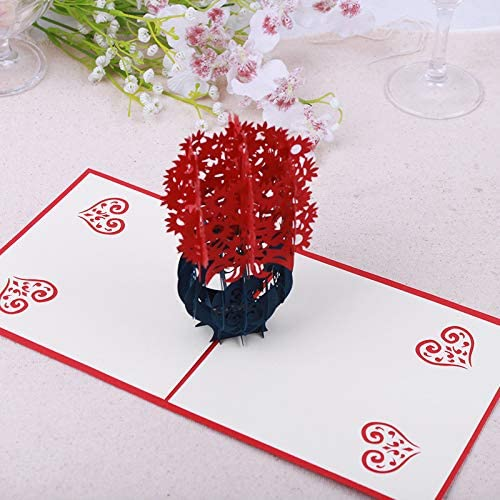 3D Pop Up Carte de vœux Handmade Vase anniversaire Thanksgiving Craft C