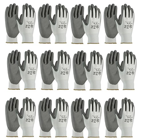 PIP 16-D622 G-Tek PolyKor Seamless Knit PolyKor Blended Gloves - Polyurethane Coated Smooth Grip on Palm & Fingers (Dozen) (Tek Grip)