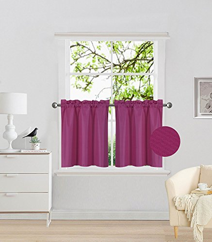 Elegant Home 2 Panels Tiers Small Window Treatment Curtain Insulated Blackout Drape Short Panel 30