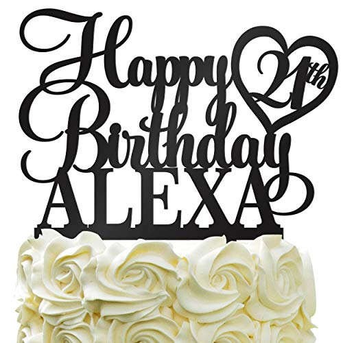 Happy Birthday Customize Birthday Cake Topper Personalized Name & Age Cake Topper With Heart - Cake Decoration For PartyColor Acrylic ()