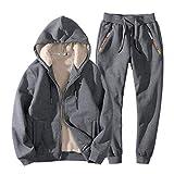 Real Spark Men's Winter Fleece Hoodie Jacket & Jog Pants Set Casual Running Tracksuit Grey XS