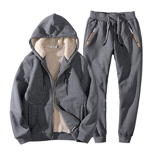 Real Spark Men's Winter Fleece Hoodie Jacket & Jog Pants Set Casual Running Tracksuit Grey S by Real Spark (Image #2)