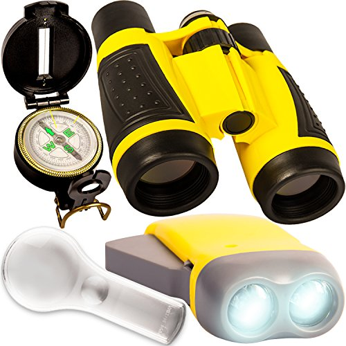 Outdoor Set for Kids - Binoculars, Flashlight, Compass & Magnifying Glass. Explorer Toys Kit for Playing Outside, Camping, Bird Watching, Pretend Play