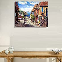 VV Art The Mediterranean scenery Italian Coast Town Beach Landscape Oil Painting Canvas Wall Art Picture Home Decoration Living Room Canvas Print Modern Painting-Large Framed Ready to hang