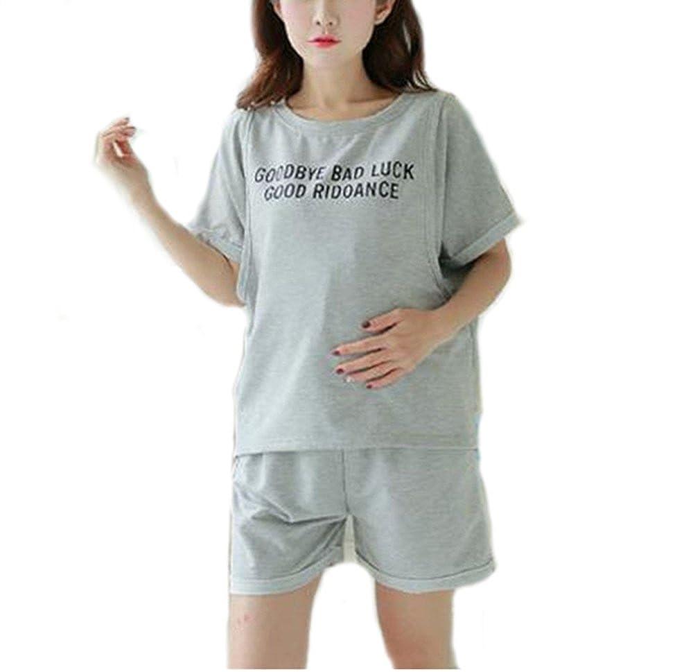 fba94bcaa226a Bold N Elegant Lucky Grey Soft Cotton Thigh Length Maternity Sleepwear Sets Pregnancy  Night Suit Feeding Nursing Tshirt Shorts Set: Amazon.in: Clothing & ...