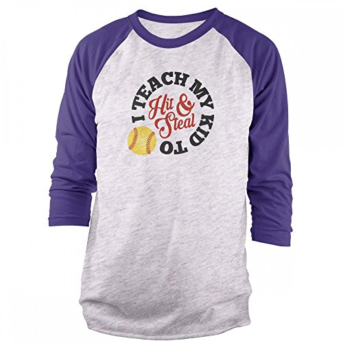 Vine Fresh Tees - I Teach My Kid to Hit and Steal - Softball 3/4 Sleeve Raglan T-Shirt - X-Large, Ash w/Purple