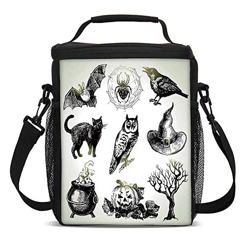 Vintage Halloween Fashionable Lunch Bag,Halloween Related Pictures Drawn by Hand Raven Owl Spider Black Cat Decorative for Travel Picnic,One size -
