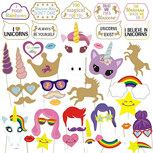 43 Pcs Unicorn Fun Photo Booth Props, Birthday Wedding Photobooth Props Party Favors