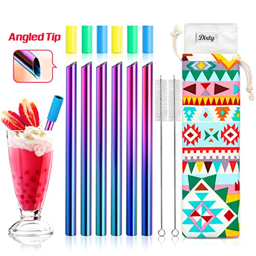 Set of 6 Stainless Steel Boba Straws with Cleaning Brush & 6 Angled-Tip Straws with Carry Bag by Teivio, Wide Bubble Tea & Smoothie Straw with Silicone Tips, 12mm/0.5
