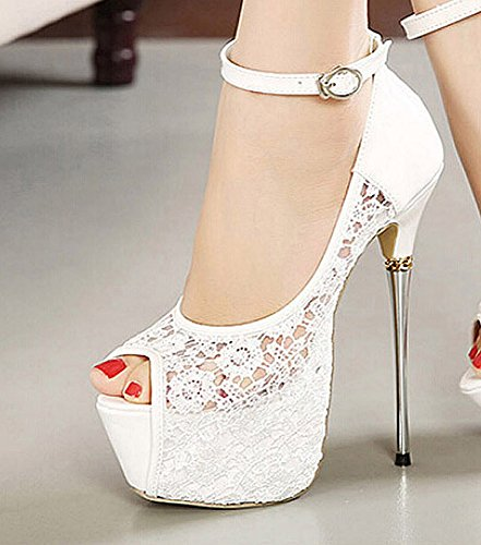 Hollow getmorebeauty Strappy High Flower White Heels Women's Lace RAqwPASU