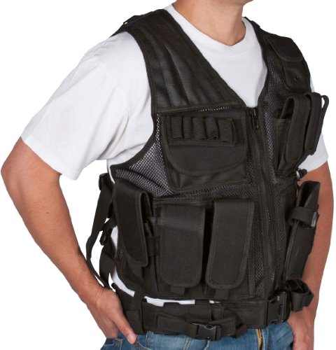 Modern Warrior Adjustable Tactical Military and Hunting Vest (Black)