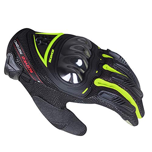 SCOYCO Reflective Fluorescent Green Breathable Antislip Shockproof Screen Sensitive Cycling Scooter Motorcycle Gloves(Green,XL)