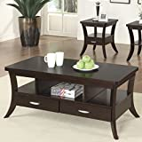 Coaster Occasional Group Transitional Espresso Coffee Table with Flared Legs and 2 Drawers