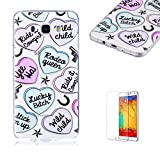 For Samsung Galaxy J5 2016 Case [with Free Screen Protector],Funyye Ultra Slim Transparent Soft Gel TPU Lovely Pattern for Girls Protective Phone Case for Samsung Galaxy J5 2016 -Love