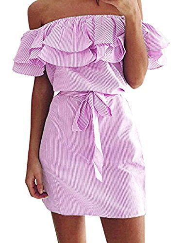 Face Dress (Face N Face Women's Casual Off Shoulder Striped Ruffles Strapless Short Dresses Mini Dresses Small Light Pink)