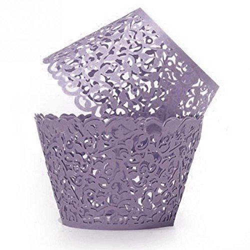 [GRM[TM] 100PCS/Lot Purple Vine Lace Laser Cut Valentine Cupcake Baking Cups Liners Muffin Liner Cake Paper Mold Cup Wrapper Liner Baking Wedding Birthday Christmas Party] (Tin Foil Robot Costume)