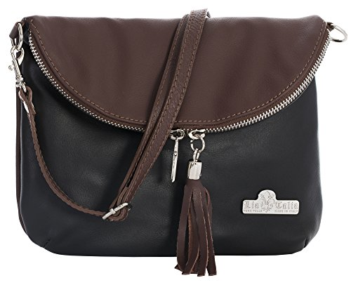 Bag Shoulder Real Black Trim Size Leather LIATALIA Mini Italian Cross Small Soft Messenger Body AMY Brown Aqxd1w80d