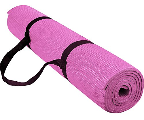 Reehut 1/4-Inch High Density - Exercise Yoga Mat with Carrying Strap for Fitness & Workout - Resistance Trainer Safety