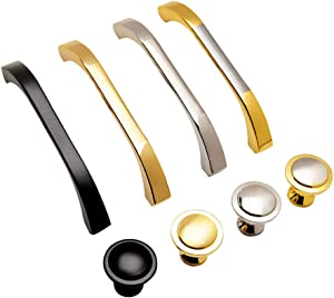 "Gold and Silver Cabinet Handles 10 Pack Kitchen Cabinet Pulls 3-3/4"" Hole Centers Euro Style Drawer Hardware"