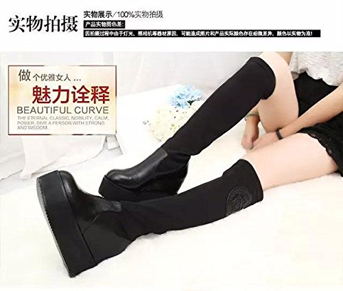 Gaorui women knee high platform boots faux leather suede hidden wedge warm shoe black boots GUcDZvYr