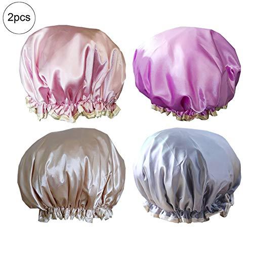 2PCS Satin Shower Caps Waterproof Elastic Band Bath Cap Bathing Hair Cap with Double Layer for Adults(Random) ()