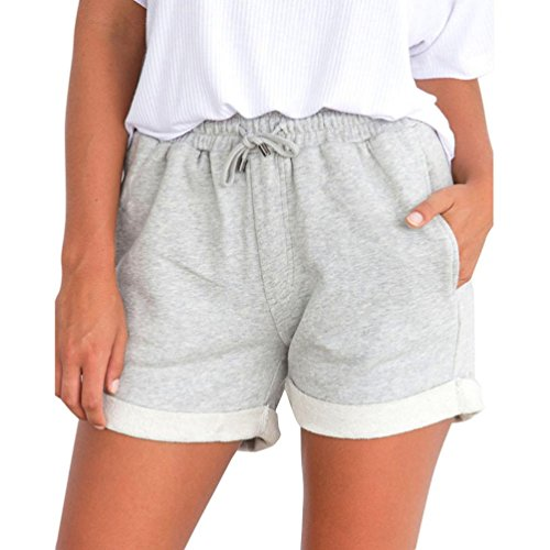 Hot Sale! Women Elastic Waist Sports Beach Shorts Casual Loose Hot Pants Folded Hem Summer Shorts (Gray, XL)