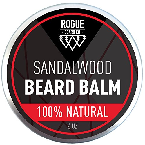 BEARD BALM SANDALWOOD by Rogue Beard Company, Leave In Conditioner with Natural Oils for Mustache Grooming and Beard Growing for Men 2 oz