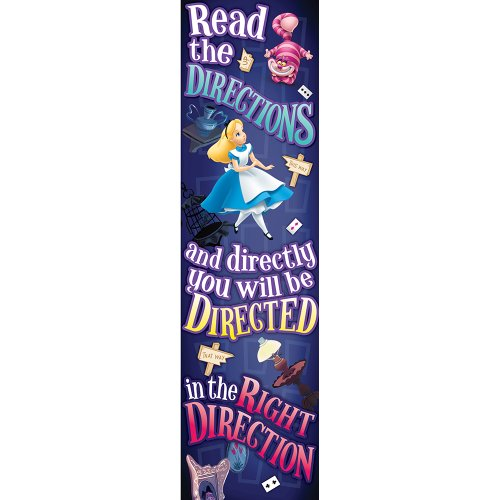 Eureka Alice In Wonderland Vertical Classroom Banner, Directions, Measures 45 x 12
