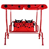 Kids Patio Swing Chair Children Porch Bench Canopy 2 Person (Red) Review