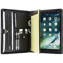 Genuine Leather Portfolio Case Professional Office Organizer Folder Business Travel Padfolio with Zippered Closure (Microsoft Surface Pro 3/ Pro 4, Black)