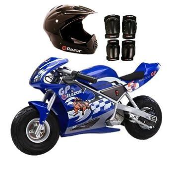 Razor Blue Pocket Rocket Bike Sport Helmet And Pads