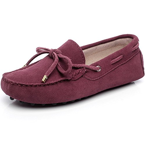 Generic Womens Flat Heel Casual Moccasins Suede Loafers&Slip-Ons Burgundy DyfLvvWmZ4