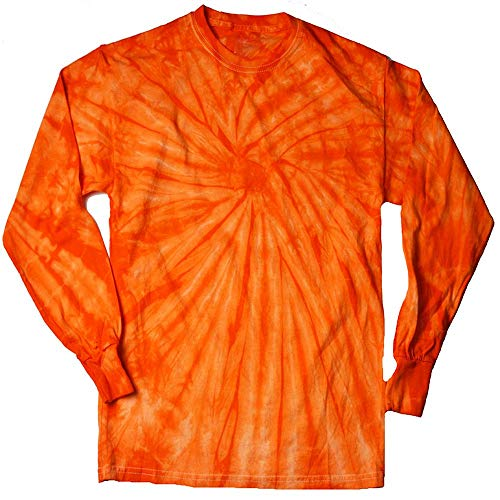 DARESAY Tie Dye Style Long Sleeve T-Shirt, Spider Orange, Small ()