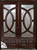 "EXTERIOR FRONT ENTRY DOUBLE WOOD DOOR M680A 36""X80""X2, RIGHT HAND SWING IN"
