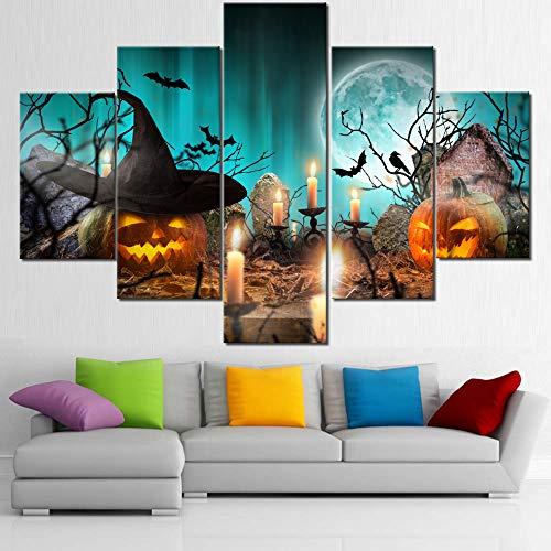 Halloween Scary Night Pictures for Living Room Orange Pumpkins lantern Paintings 5 Panel Printed on CanvasWall Art Contemporary Artwork Giclee Home Decor Framed Stretched Ready to Hang(60''Wx40''H)