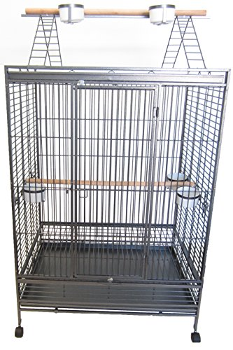 YML 1-Inch Bar Spacing Play Top Wrought Iron Parrot Cage, 40-Inch by 30-Inch In Antique Silver by YML