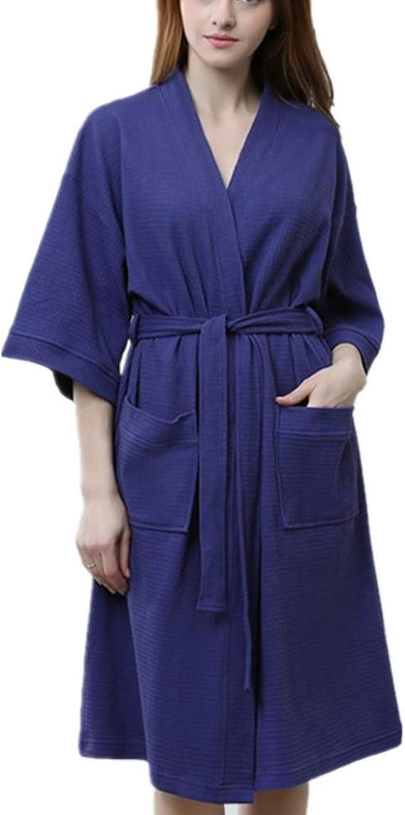 Albornoz de Mujer, Bata 100% algodón, (M a XL) 2 Bolsillos, cinturón - Bata Fina y cómoda, Pijama SPA: Amazon.es: Ropa y accesorios