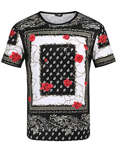 Urban T-shirt Designs - COOFANDY Men's Hipster Hip Hop T Shirt Luxury Graphic Printed Shirts Fashion Street Tee