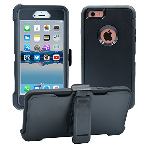 iPhone 6 Plus / 6S Plus Cover | 2-in-1 Screen Protector & Holster Case | Military Grade Edge-to-Edge Protection with carrying belt clip | Drop Proof Shockproof Dustproof | Black / Black (Best Iphone 6s Plus Case With Belt Clip)