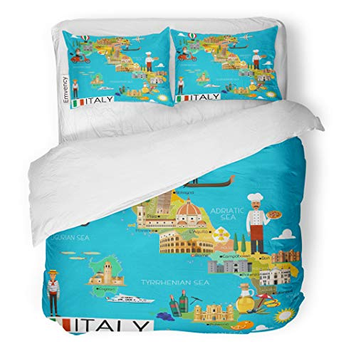 Semtomn Decor Duvet Cover Set King Size Milan Map of Italy and Travel Italian Cartoon City 3 Piece Brushed Microfiber Fabric Print Bedding Set Cover]()